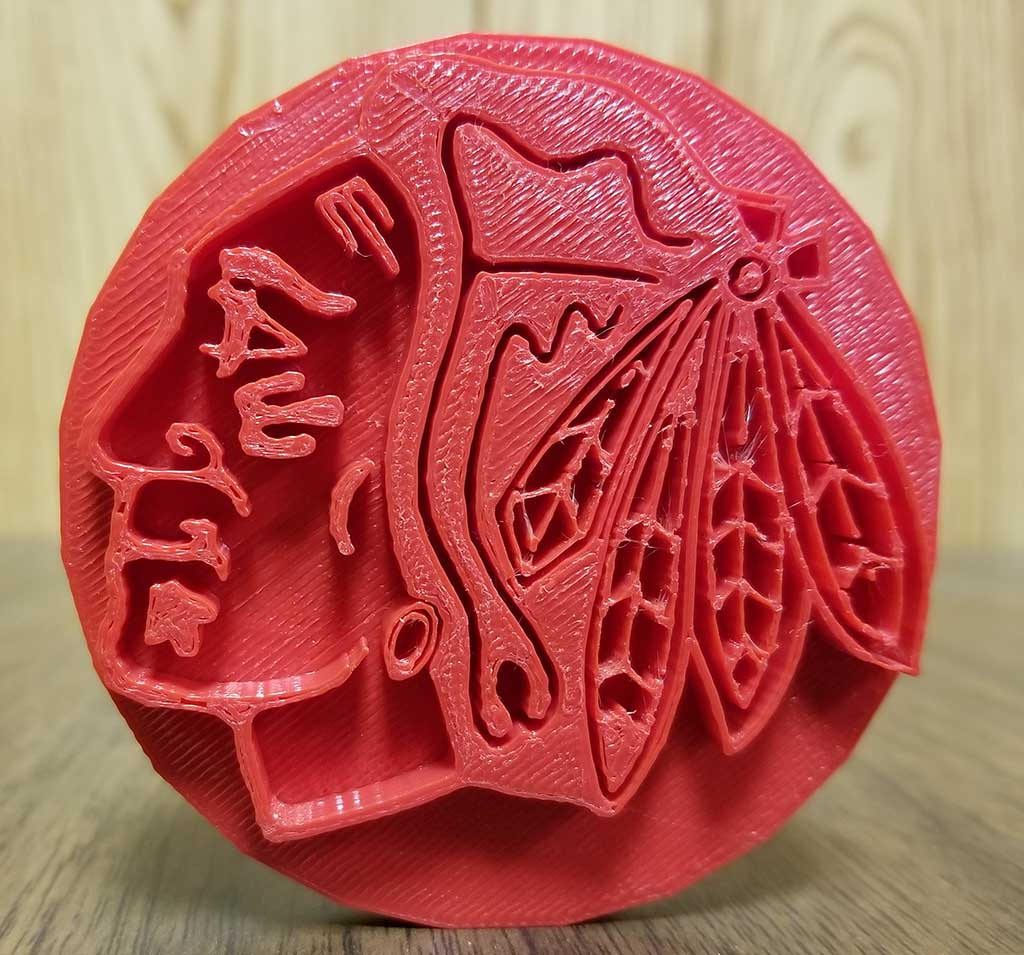 3d printed blackhawks logo
