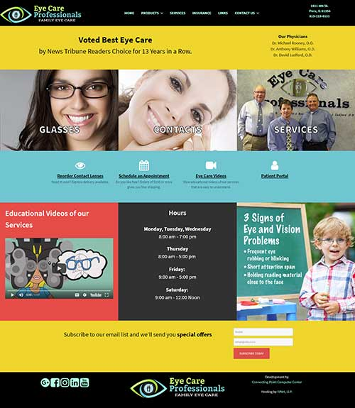 Website redesign screenshot for Eye Care Professionals