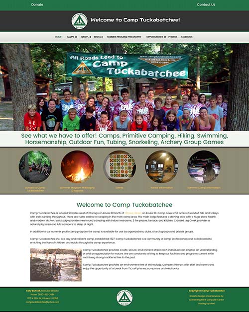 Website redesign project for Camp Tuckabatchee by Connecting Point- Peru