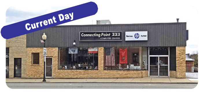 Our current location 4th Street shown as present day for Connecting Point Computer Center