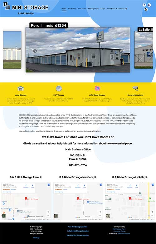 Website redesign project - B&B Mini Storage Peru, LaSalle, Mendota Illinois
